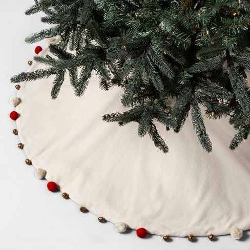 Tree Skirt With Pom And Bells Opalhouse Target Opalhouse Fabric Tree Tree Skirts