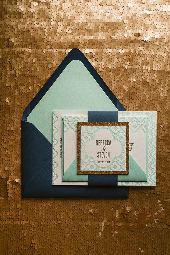 DANICA Suite Cutie Package, navy and mint, mint and gold, navy and gold, letterpress wedding invitations, 2015 wedding trends, glitter wedding invitations