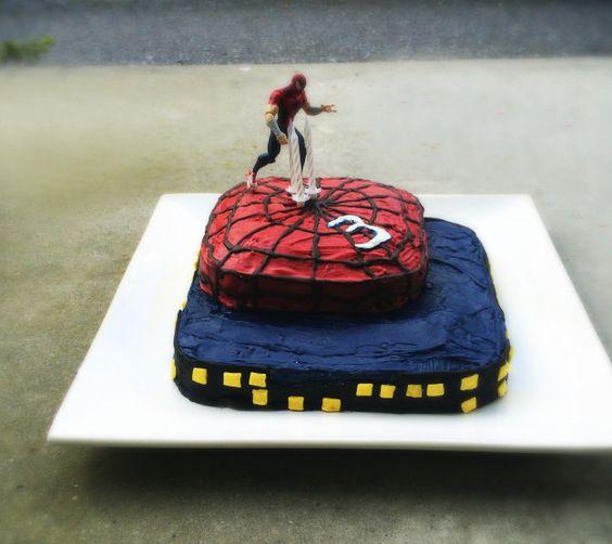Ein Spiderman-Kuchen aus zweierlei Brownie-Teig - ein Hit für den Kindergeburtstag / Spiderman cake made of Brownie and Whitey dough