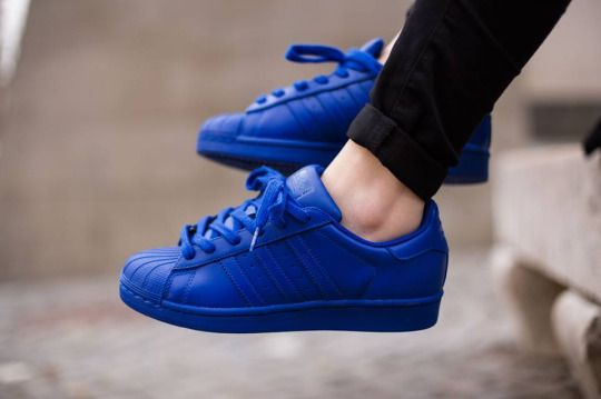 adidas Originals Superstar J Black/Blue Leather 3.5 M