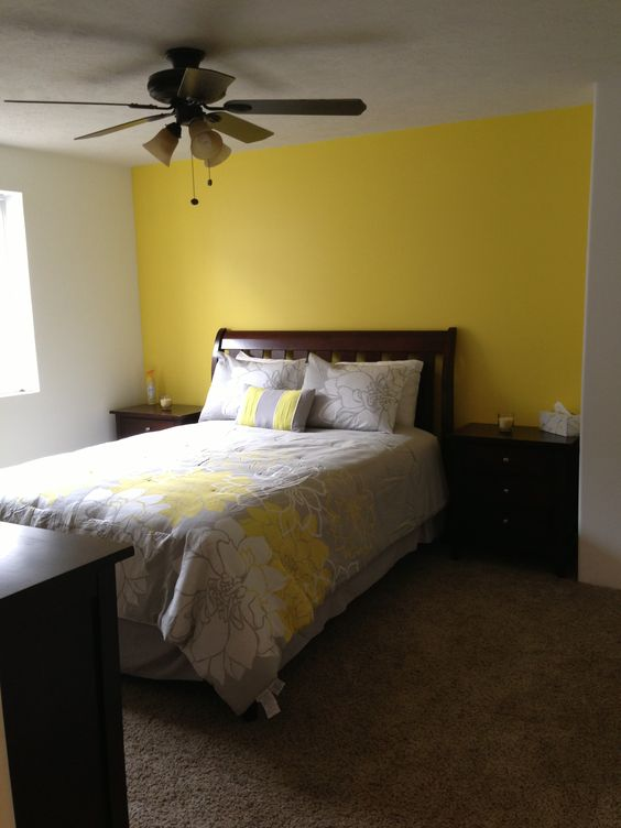 Basement bedroom love our yellow accent wall home projects pinterest gray accent walls Putting a master bedroom in the basement