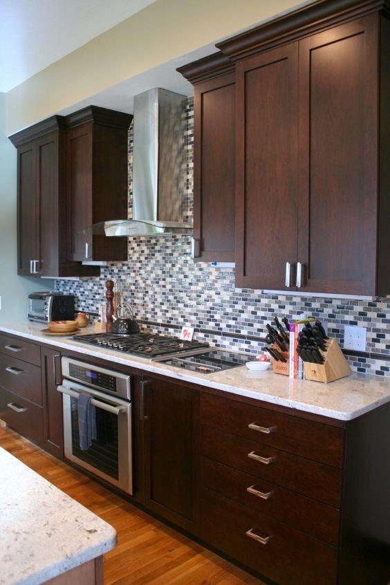 Beautiful shaker style cabinets with full height tile backsplash ...