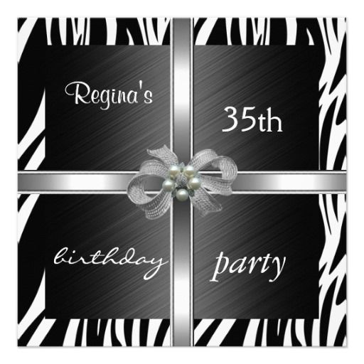Invitation Elegant 35th Birthday Animal Zebra Custom Invite