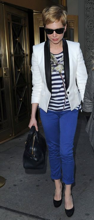 Love this white and black tuxedo jacket with electric blue jeans: