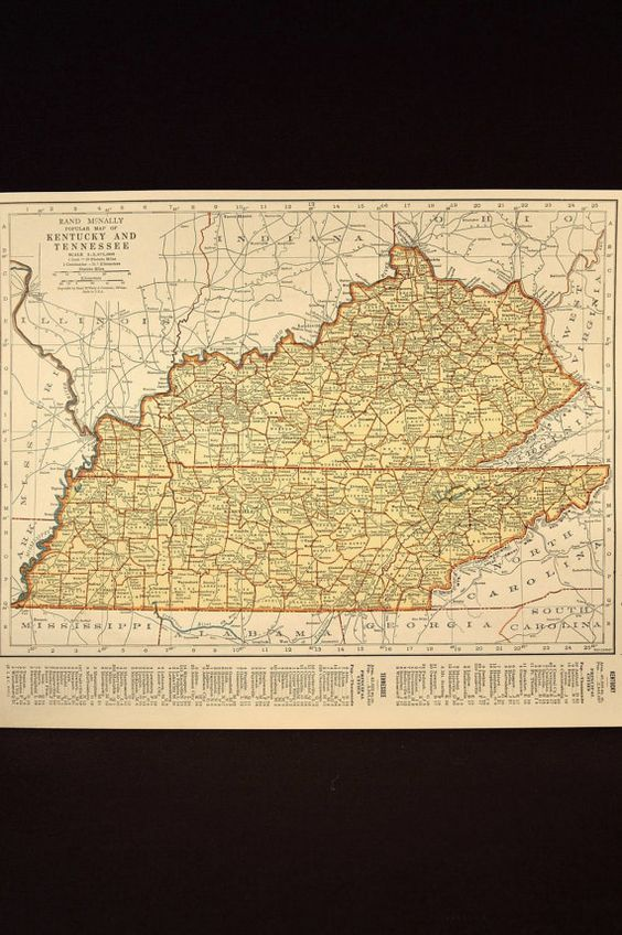 1930s Vintage Map Kentucky & Tennessee State Original 1935