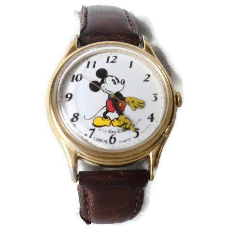 Vintage Lorus Mickey Mouse Watch V515 6000 Yellow Feet Hands Leather Band Rare Retiered Collectible by EraAntiquesandFinds on Etsy
