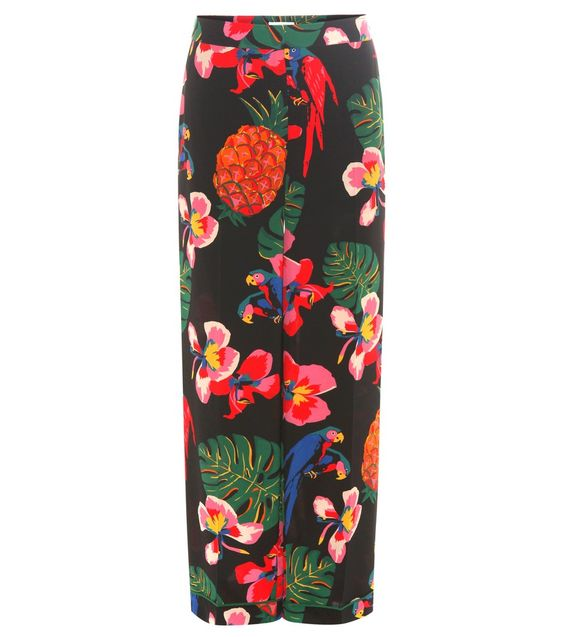 Valentino - Floral-printed silk trousers - Valentino took inspiration from multicultural Cuba this season, as seen in the tropical floral print on this pair of trousers. The sleek silk crêpe de chine fabric is cut in a pyjama-inspired silhouette with an elasticated waist and contrast piping at the cuffs. Style yours with heels to elevate the look for relaxed-luxe sophistication seen @ www.mytheresa.com