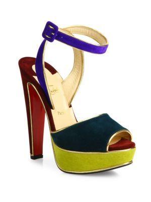 christian louboutin colorblock peep-toe pumps