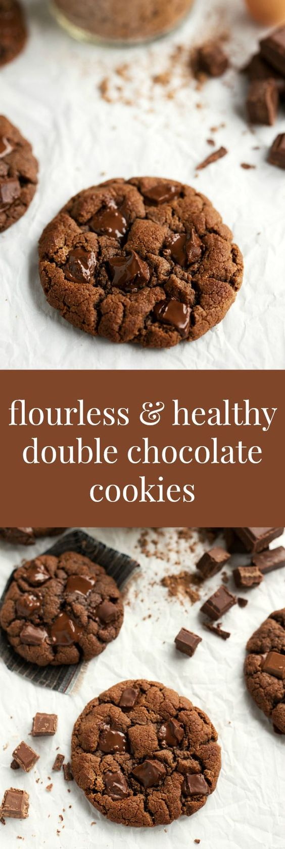 A simple double chocolate cookie with no butter, white sugar, oil, OR flour. These cookies are thick, chewy, and filled with good-for-you ingredients. Although I'm not gluten intolerant, ther…