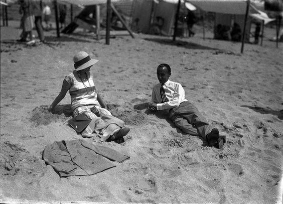 The Beach in 1927 Praias da Costa do Sol, Portugal, 1927 by Biblioteca de Arte-Fundação Calouste Gulbenkian, via Flickr
