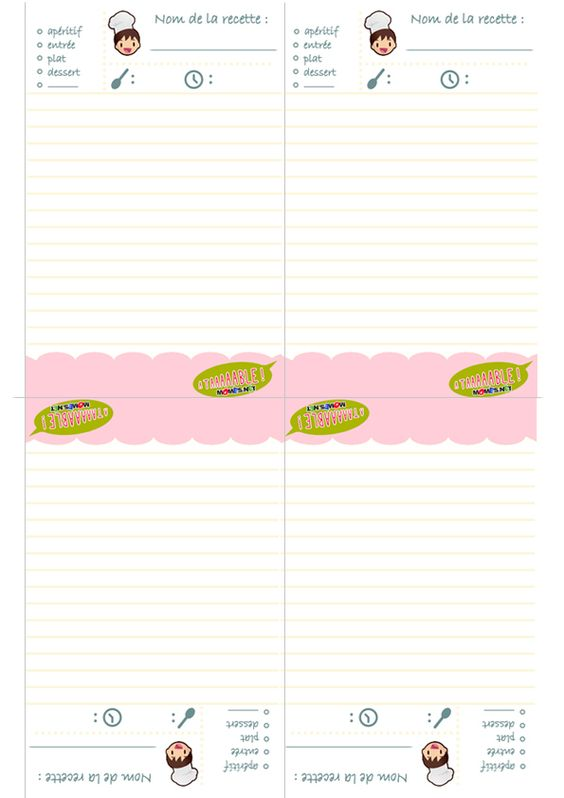 Fiches recettes à imprimer | Projects for French Class | Pinterest