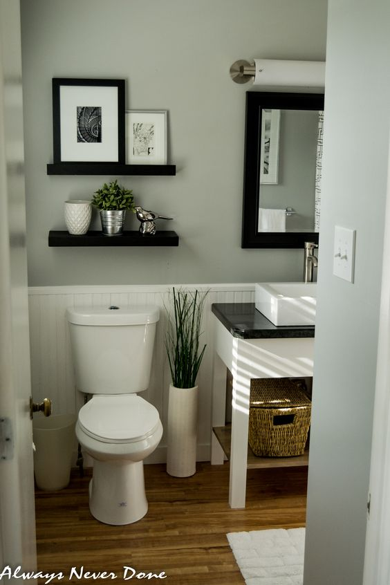 serene small master bathroom renovation done in a thrifty