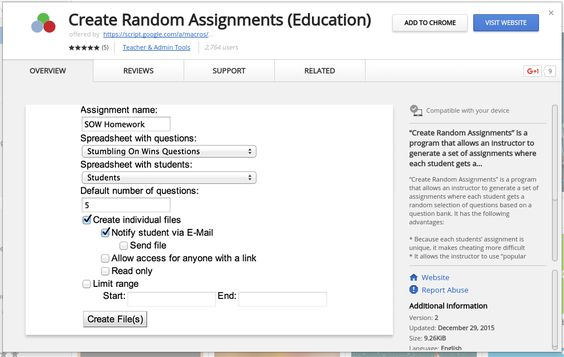 Create Random Assignments is a Google Apps script that takes a