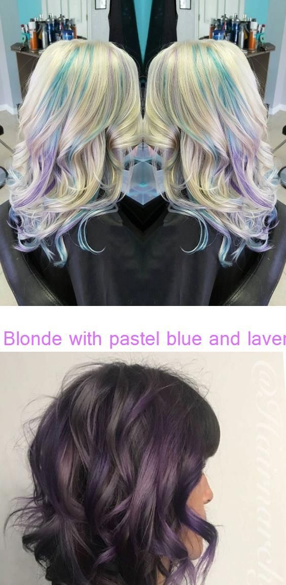 Blonde With Pastel Blue And Lavender Peekaboo Highlights See This Instagram Pho Underlights Hair Underlights In 2020 Galaxy Hair Color Underlights Hair Galaxy Hair