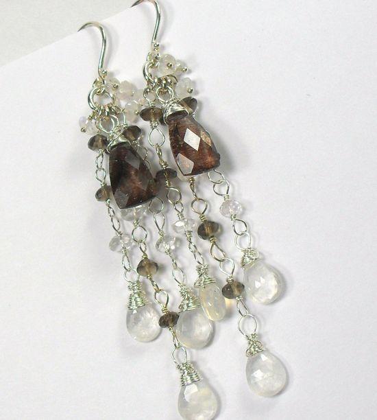 Moonstone Royal Lepidocrosite Sterling Chandelier Earrings