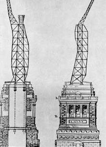 Interior structural elements of the Statue of Liberty designed by Gustave Eiffel.