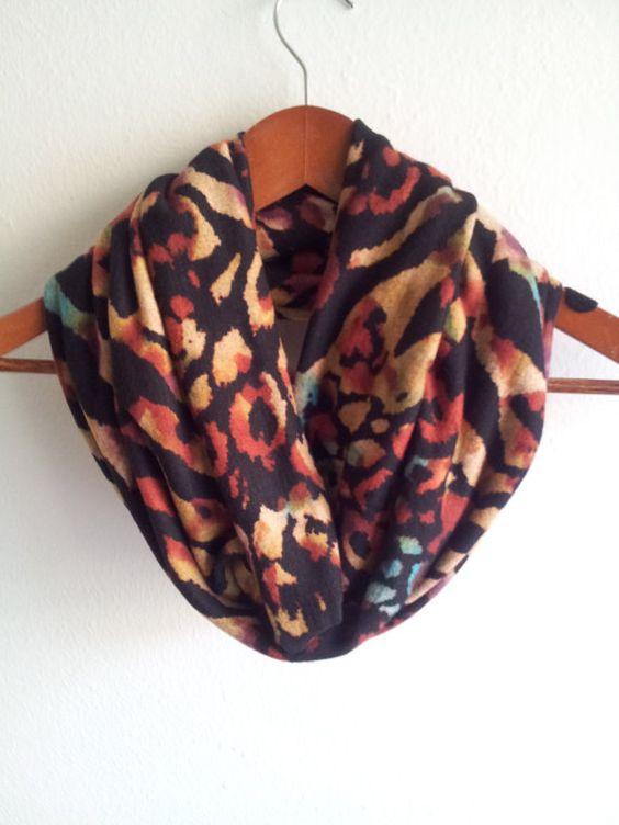 Sweater Knit Animal Print Infinity Scarf warm by ScarvesBuySharon, $24.00