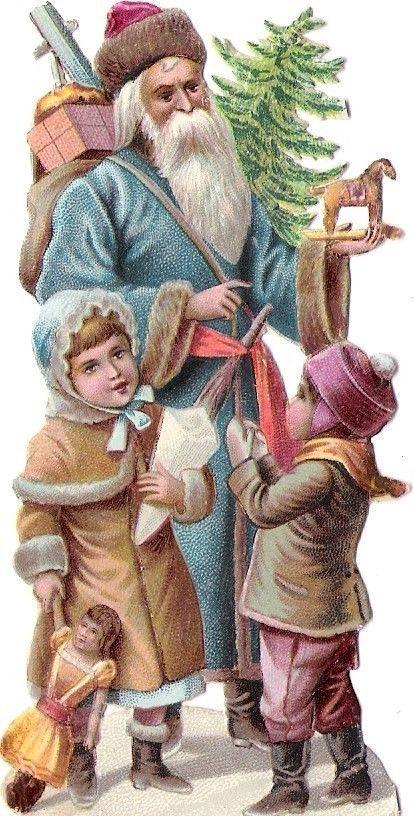 Oblaten Glanzbild scrap die cut  Nikolaus  10,5cm father XMAS Weihnachtsmann: