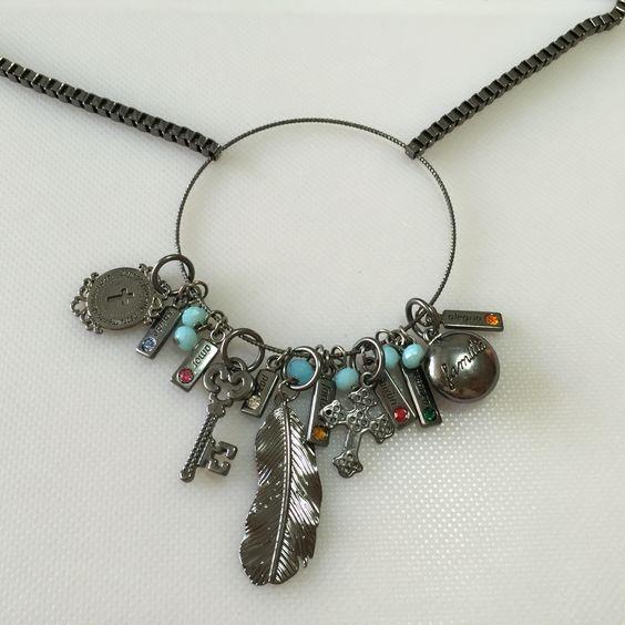 Colar negro com amuletos de força, família, fé, saúde, sorte! #Dijoux semi-joias! 51 89494004