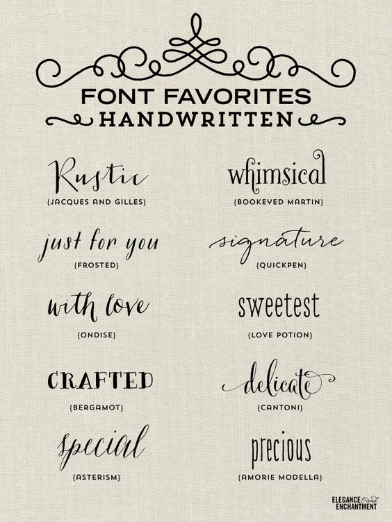 A collection of elegant handwritten fonts - favorites from Elegance & Enchantment.