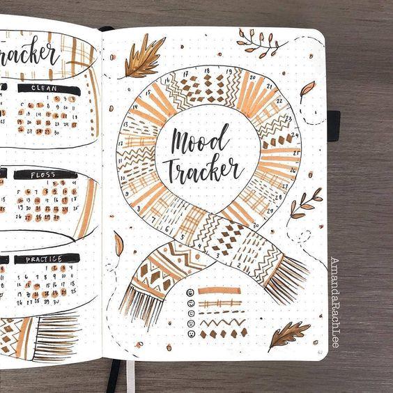 20 idées de Bullet Journal pour l'automne ! (page par @amandarachlee)
