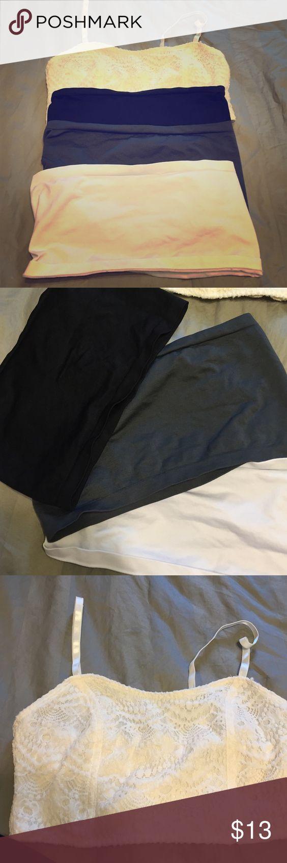 4 bandeaus 1 zip up cream color, 1 black, 1 grey, & 1 white Tops Camisoles