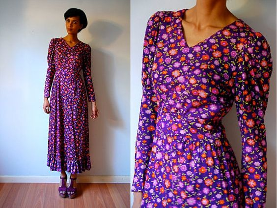 Vtg Retro Floral Printed Purple Orange Belted Maxi by LuluTresors, $32.99