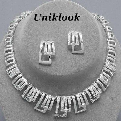 Formal Mother bride Elegant Rhodium & Clear crystal Design Necklace Jewelry set