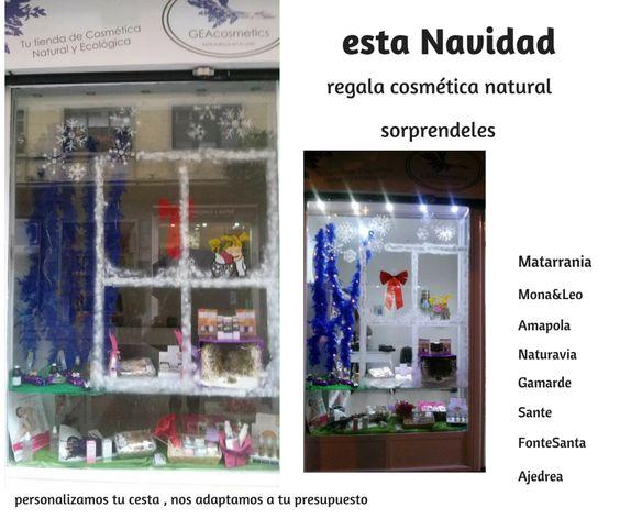 Escaparate Navideño de GEAcosmetics, donde podrás encontrar Cosmética Natural certificada.La tendencia de lo sano Oviedo / Uviéu en Asturias