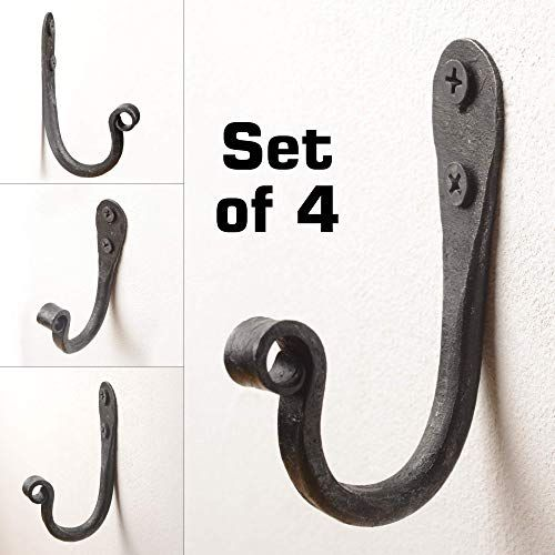 Wrought Iron J Hooks Set Of 4 Hand Forged Rustic Forging