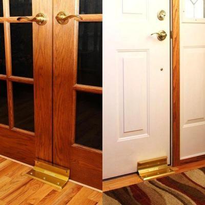 Nightlock brushed nickel home door security lock 14002 for French door hardware home depot