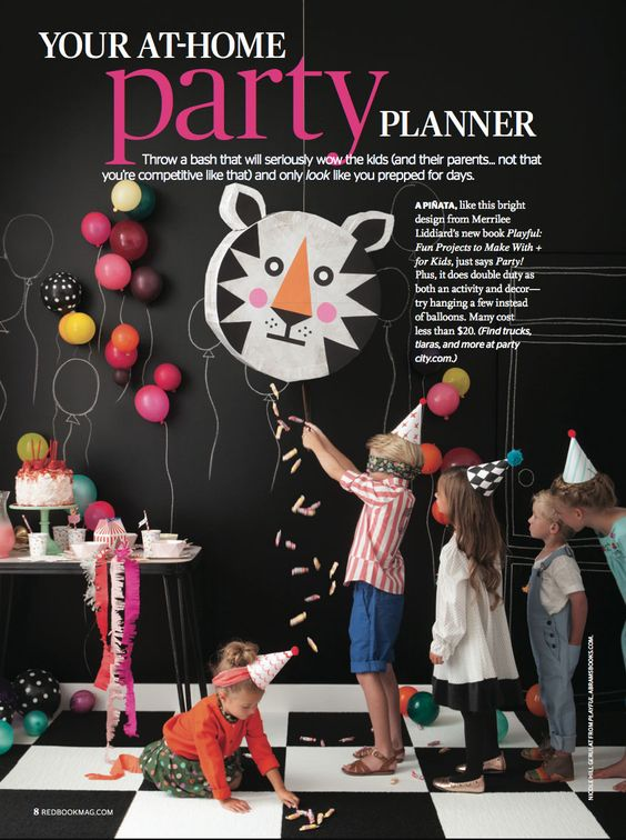 tiger pinata for party from Mer Mag's book Playful | article in Redbook mag