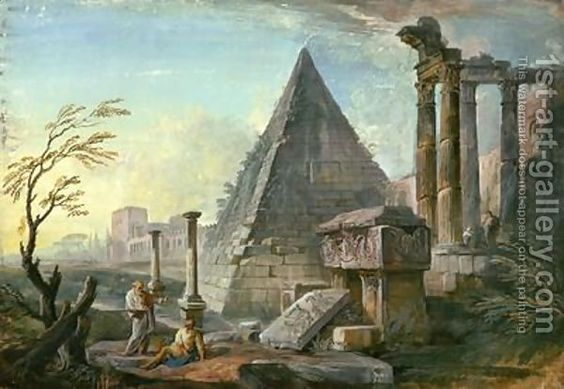 Pyramid of Caius Cestius at Rome by Jean-Baptiste Lallemand