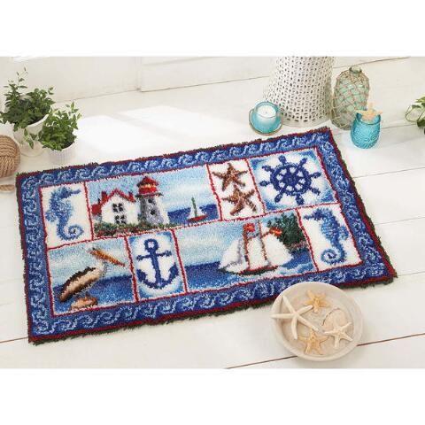 Herrschners Nautical Fever Latch Hook Kit Latch Hook Acrylic Yarn Wall Hanging