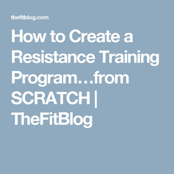 How to Create a Resistance Training Program…from SCRATCH | TheFitBlog