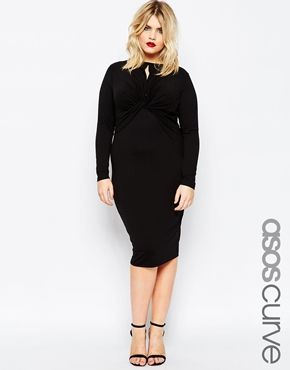 ASOS CURVE Bodycon Midi Dress With Twist Knot Front