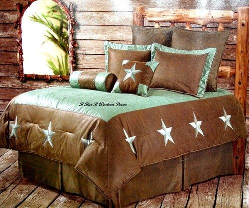 western turquoise star cowboy comforter bedding set