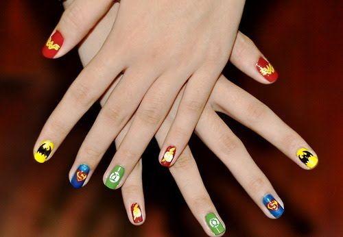 Super Heroes nail art