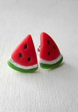 little watermelon slice earrings