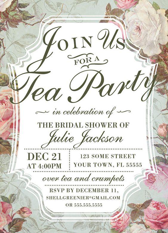 tea party shower invitations