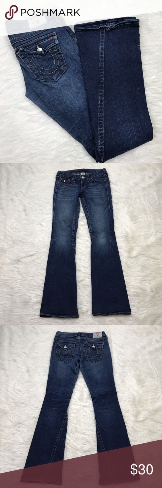 """[True Religion] Joey Flare Jeans Flap Pocket 27 Classic True Religion Joey jeans. Flare style. Zip fly with button closure. Flap back pockets.   🔹Fabric: 99% Cotton 1% Elastane 🔹Waist: 29"""" 🔹Rise: 7.5"""" 🔹Inseam: 34"""" 🔹Condition: Good pre-owned condition. 2 small holes in the bottom of each back hem.  *C31 True Religion Jeans Flare & Wide Leg"""