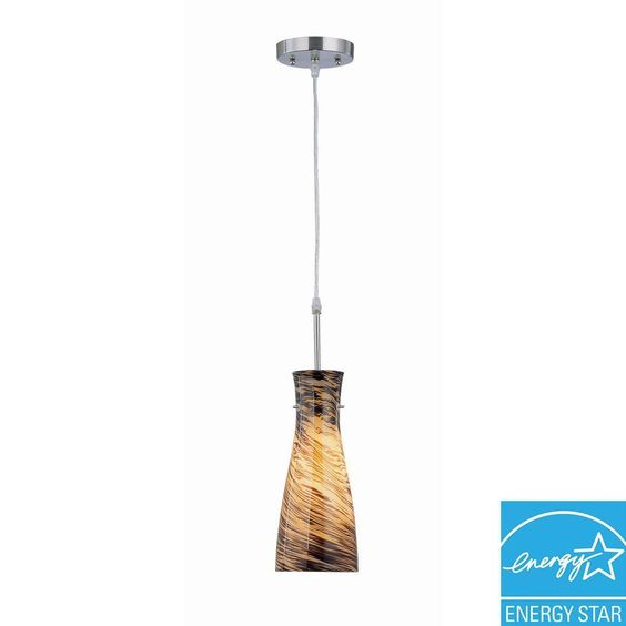 Illumine 1-Light Steel Pendant with Amber Glass Shade-CLI-LS-19197AMB - The Home Depot