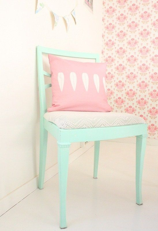 Chic up an old chair with luxurious duck egg blue and recover the seat pad with a pretty fabric.