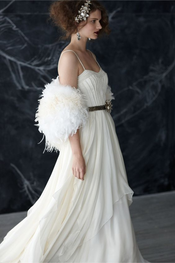 Dress up any gown with feather boas from #thefeatherpalce! Cascading Goddess Gown from BHLDN