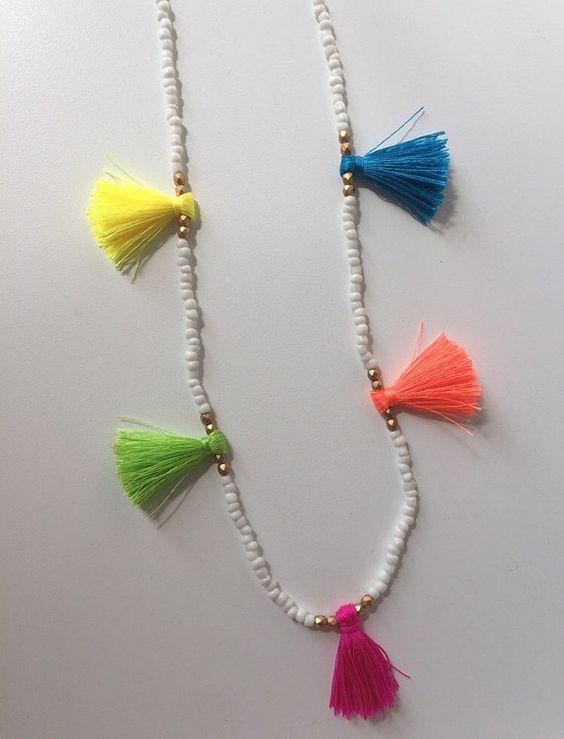 Girls Beaded Neon Multi Tassel Necklace (Toddler - Tween)