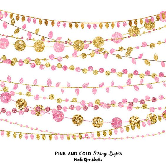 Pink and Gold Party Invitation Clipart, Glitter String Lights Clip Art, Instant Download ...