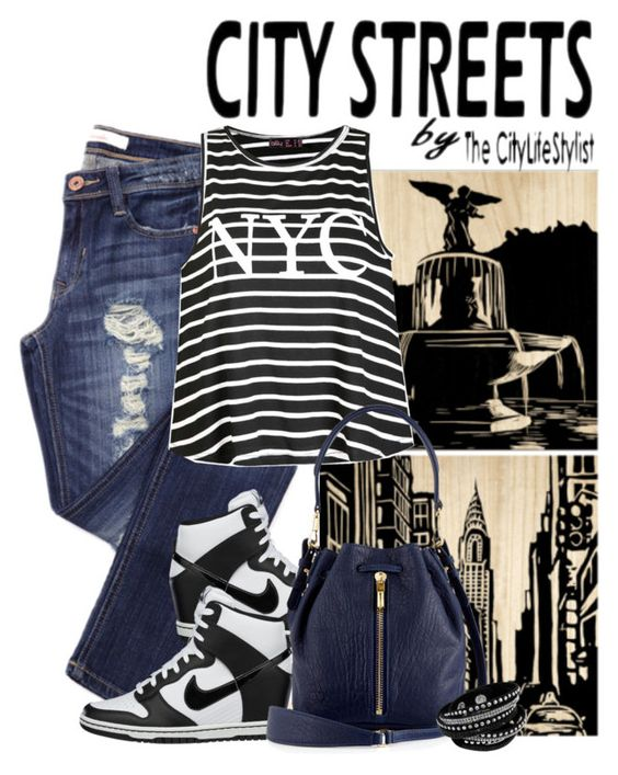 """My City - NYC"" by lstarkphoto ❤ liked on Polyvore featuring Selamat Designs, City Streets, Ally Fashion, NIKE, Elizabeth and James, women's clothing, women, female, woman and misses"