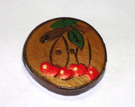 Pyrography Wooden Button with cherry design.
