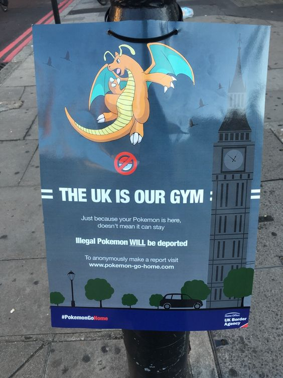 These posters have been appearing all around London. Life after Brexit is tough for Pokemon.