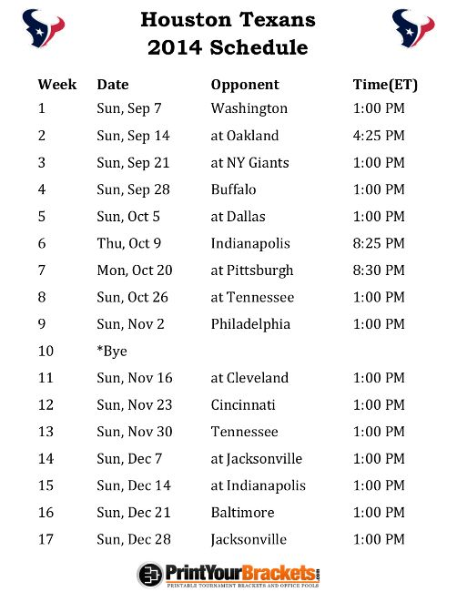 Printable Houston Texans Schedule - 2014 Football Season